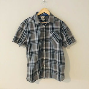 Volcom Mens Short Sleeve Button Down Plaid Print